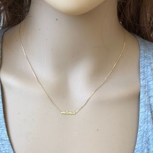 14kt Yellow Gold Script Mama Adj Choker Necklace